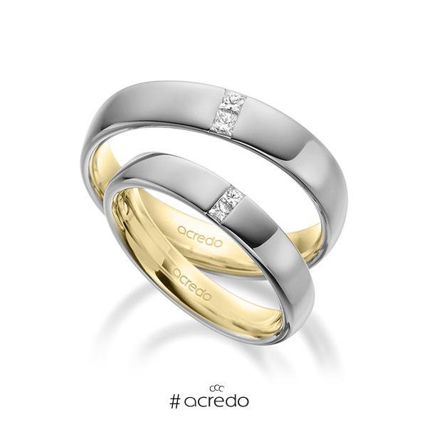 Paar bicolor Trauringe/Eheringe in außen Graugold 585 , innen Gelbgold 585 mit zus. 0,18 ct. Prinzess-Diamant tw, si von acredo