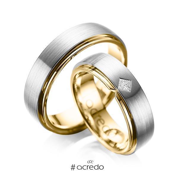 Paar bicolor Trauringe/Eheringe in außen Graugold 585 , innen Gelbgold 585 mit zus. 0,1 ct. Prinzess-Diamant tw, si von acredo