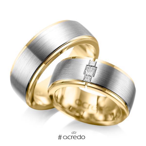 Paar bicolor Trauringe/Eheringe in außen Graugold 585 , innen Gelbgold 585 mit zus. 0,21 ct. Prinzess-Diamant tw, si von acredo