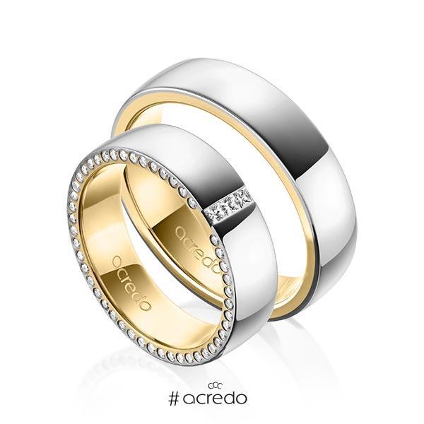 Paar bicolor Trauringe/Eheringe in außen Graugold 585 , innen Gelbgold 585 mit zus. 0,325 ct. Prinzess-Diamant & Brillant tw, si von acredo