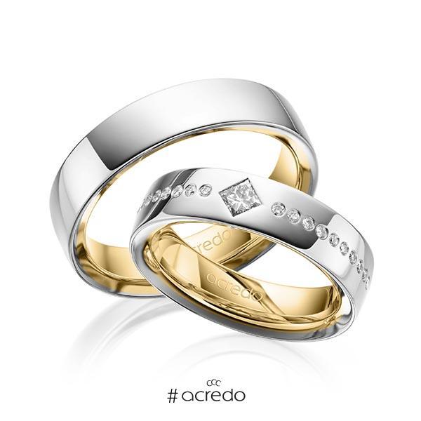 Paar bicolor Trauringe/Eheringe in außen Graugold 585 , innen Gelbgold 585 mit zus. 0,326 ct. Brillant & Prinzess-Diamant tw, si von acredo
