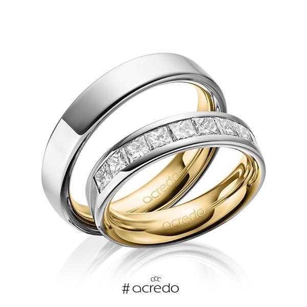 Paar bicolor Trauringe/Eheringe in außen Graugold 585 , innen Gelbgold 585 mit zus. 1,2 ct. Prinzess-Diamant tw, si von acredo