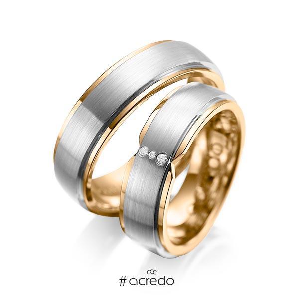 Paar bicolor Trauringe/Eheringe in außen Graugold 585 , innen Roségold 585 mit zus. 0,025 ct. Brillant tw, si von acredo