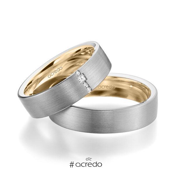 Paar bicolor Trauringe/Eheringe in außen Graugold 585 , innen Roségold 585 mit zus. 0,045 ct. Brillant & Prinzess-Diamant tw, si von acredo
