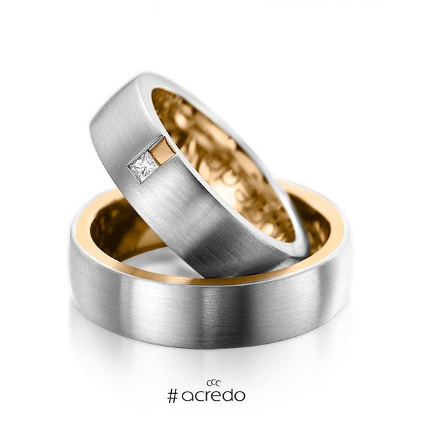 Paar bicolor Trauringe/Eheringe in außen Graugold 585 , innen Roségold 585 mit zus. 0,06 ct. Prinzess-Diamant tw, si von acredo