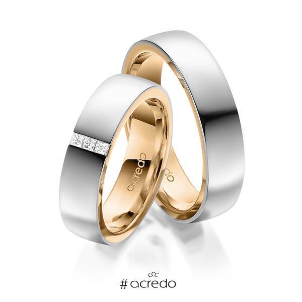 Paar bicolor Trauringe/Eheringe in außen Graugold 585 , innen Roségold 585 mit zus. 0,09 ct. Prinzess-Diamant tw, si von acredo