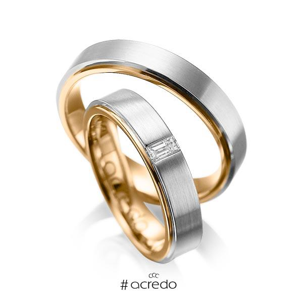Paar bicolor Trauringe/Eheringe in außen Graugold 585 , innen Roségold 585 mit zus. 0,12 ct. Baguette-Diamant tw, vs von acredo