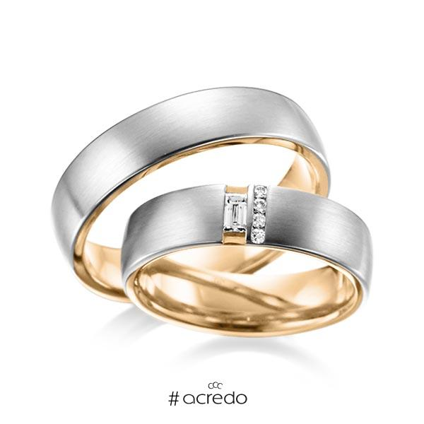 Paar bicolor Trauringe/Eheringe in außen Graugold 585 , innen Roségold 585 mit zus. 0,132 ct. Baguette-Diamant & Brillant tw, vs von acredo