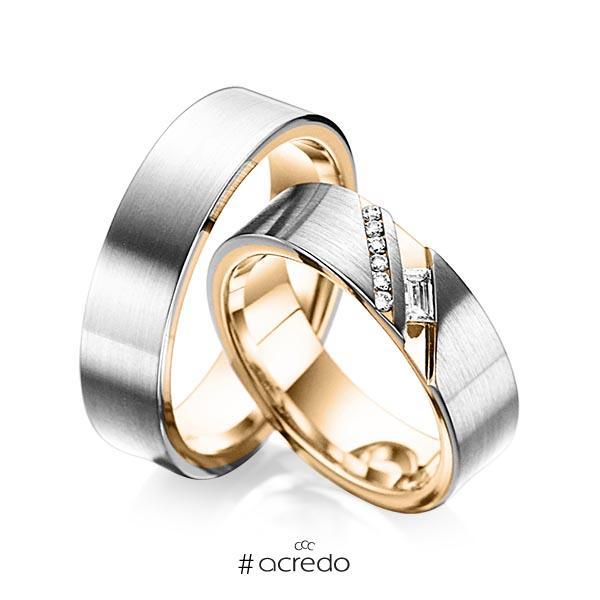 Paar bicolor Trauringe/Eheringe in außen Graugold 585 , innen Roségold 585 mit zus. 0,16 ct. Baguette-Diamant & Brillant tw, vs tw, si von acredo