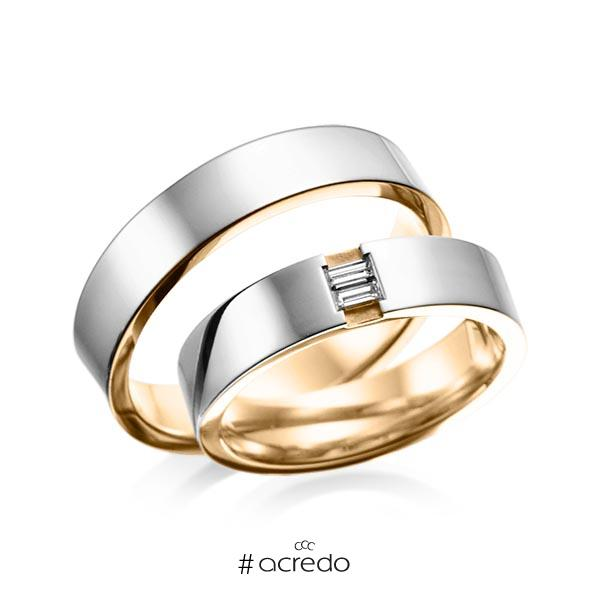 Paar bicolor Trauringe/Eheringe in außen Graugold 585 , innen Roségold 585 mit zus. 0,1 ct. Baguette-Diamant tw, vs von acredo