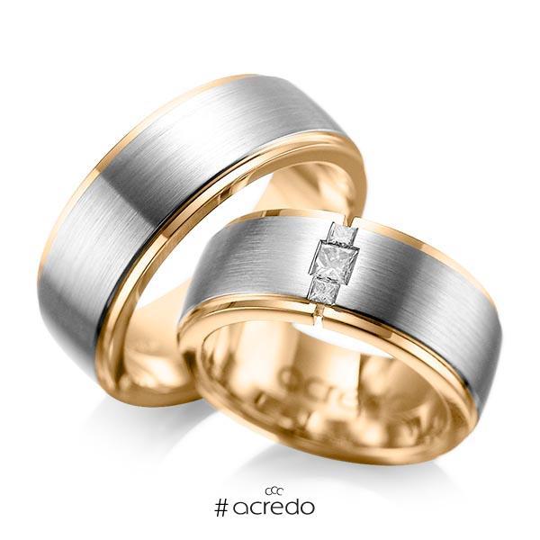 Paar bicolor Trauringe/Eheringe in außen Graugold 585 , innen Roségold 585 mit zus. 0,21 ct. Prinzess-Diamant tw, si von acredo