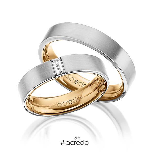 Paar bicolor Trauringe/Eheringe in außen Graugold 585 , innen Roségold 585 mit zus. 0,2 ct. Baguette-Diamant tw, vs von acredo