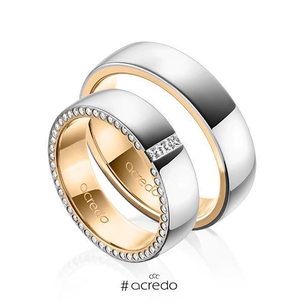 Paar bicolor Trauringe/Eheringe in außen Graugold 585 , innen Roségold 585 mit zus. 0,325 ct. Prinzess-Diamant & Brillant tw, si von acredo