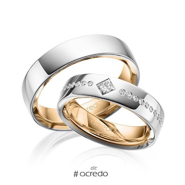 Paar bicolor Trauringe/Eheringe in außen Graugold 585 , innen Roségold 585 mit zus. 0,326 ct. Brillant & Prinzess-Diamant tw, si von acredo