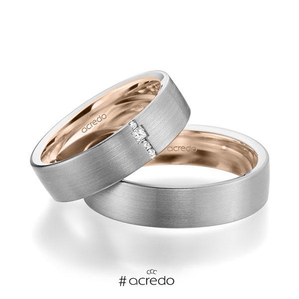 Paar bicolor Trauringe/Eheringe in außen Graugold 585 , innen Rotgold 585 mit zus. 0,045 ct. Brillant & Prinzess-Diamant tw, si von acredo