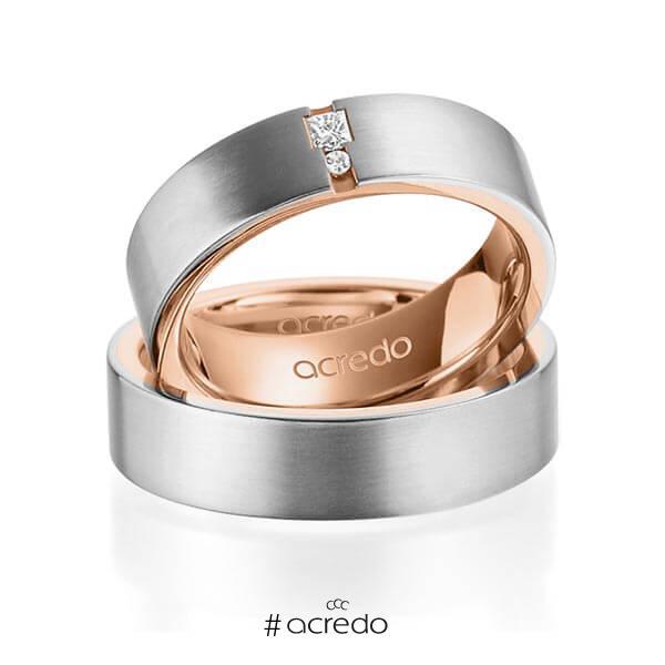 Paar bicolor Trauringe/Eheringe in außen Graugold 585 , innen Rotgold 585 mit zus. 0,048 ct. Prinzess-Diamant & Brillant tw, si von acredo