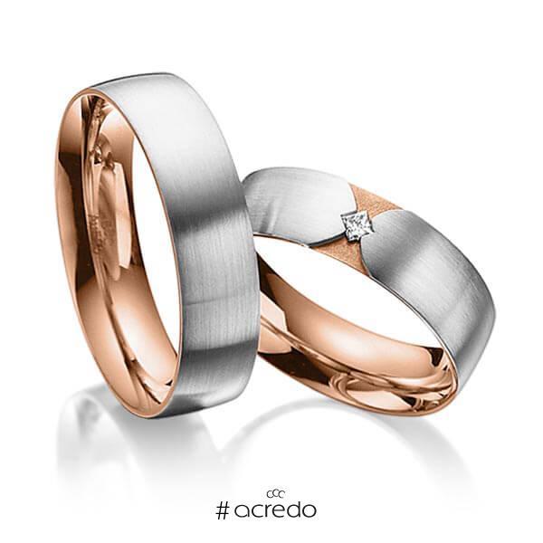 Paar bicolor Trauringe/Eheringe in außen Graugold 585 , innen Rotgold 585 mit zus. 0,04 ct. Prinzess-Diamant tw, si von acredo