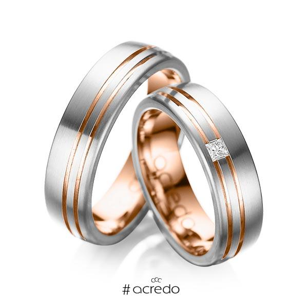 Paar bicolor Trauringe/Eheringe in außen Graugold 585 , innen Rotgold 585 mit zus. 0,05 ct. Prinzess-Diamant tw, si von acredo