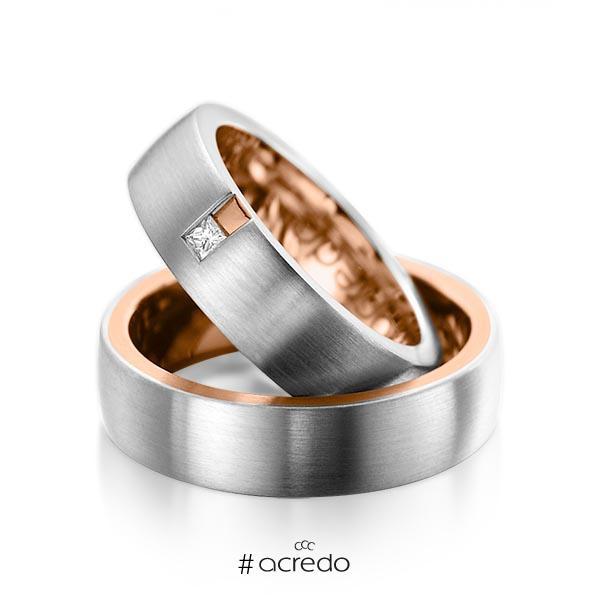 Paar bicolor Trauringe/Eheringe in außen Graugold 585 , innen Rotgold 585 mit zus. 0,06 ct. Prinzess-Diamant tw, si von acredo