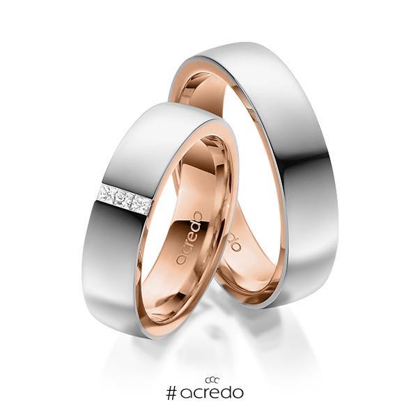 Paar bicolor Trauringe/Eheringe in außen Graugold 585 , innen Rotgold 585 mit zus. 0,09 ct. Prinzess-Diamant tw, si von acredo