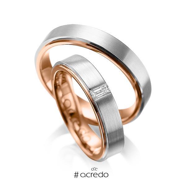 Paar bicolor Trauringe/Eheringe in außen Graugold 585 , innen Rotgold 585 mit zus. 0,12 ct. Baguette-Diamant tw, vs von acredo