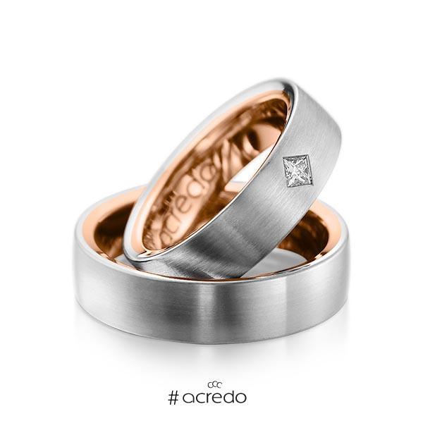 Paar bicolor Trauringe/Eheringe in außen Graugold 585 , innen Rotgold 585 mit zus. 0,12 ct. Prinzess-Diamant tw, si von acredo