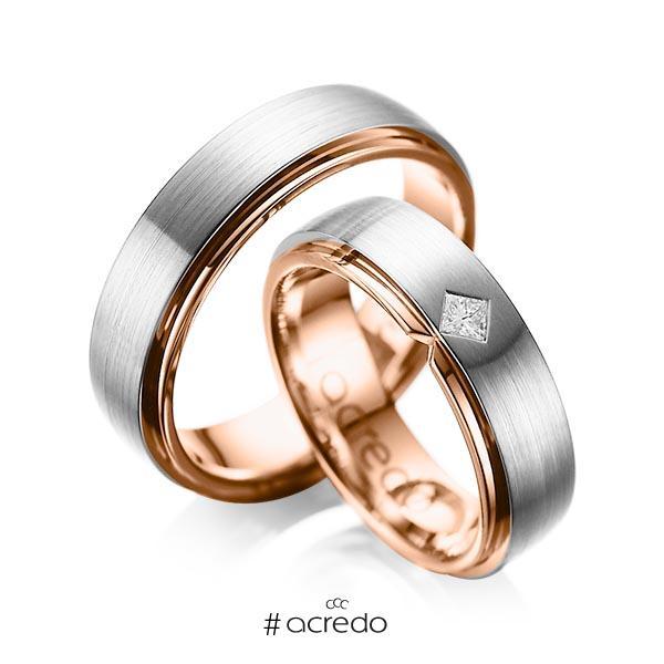 Paar bicolor Trauringe/Eheringe in außen Graugold 585 , innen Rotgold 585 mit zus. 0,1 ct. Prinzess-Diamant tw, si von acredo