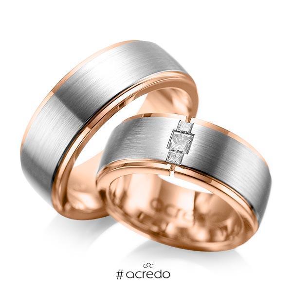 Paar bicolor Trauringe/Eheringe in außen Graugold 585 , innen Rotgold 585 mit zus. 0,21 ct. Prinzess-Diamant tw, si von acredo