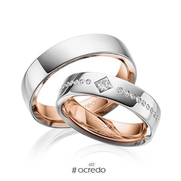 Paar bicolor Trauringe/Eheringe in außen Graugold 585 , innen Rotgold 585 mit zus. 0,326 ct. Brillant & Prinzess-Diamant tw, si von acredo