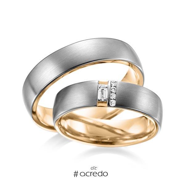 Paar bicolor Trauringe/Eheringe in außen Graugold dunkel 585 , innen Roségold 585 mit zus. 0,132 ct. Baguette-Diamant & Brillant tw, vs von acredo