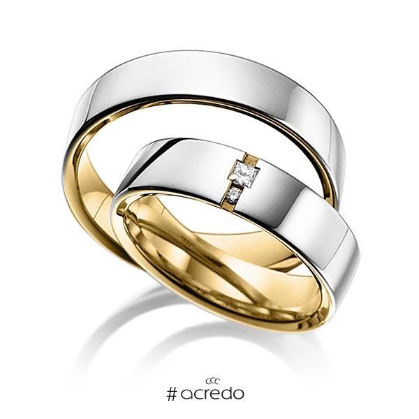 Paar bicolor Trauringe/Eheringe in außen Platin 950 , innen Gelbgold 750 mit zus. 0,06 ct. Prinzess-Diamant & Brillant tw, si von acredo