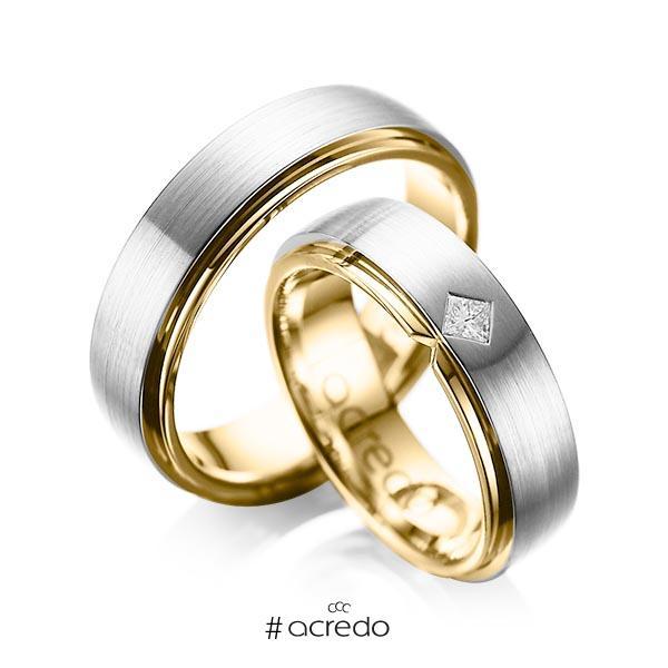 Paar bicolor Trauringe/Eheringe in außen Platin 950 , innen Gelbgold 750 mit zus. 0,1 ct. Prinzess-Diamant tw, si von acredo