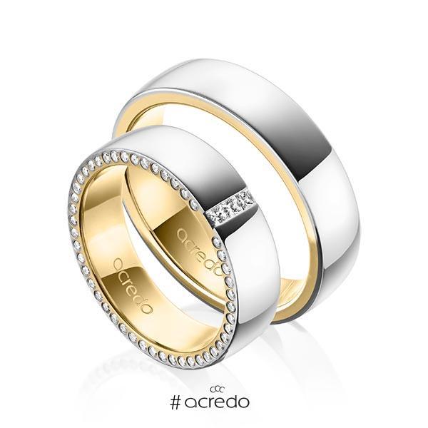 Paar bicolor Trauringe/Eheringe in außen Platin 950 , innen Gelbgold 750 mit zus. 0,325 ct. Prinzess-Diamant & Brillant tw, si von acredo