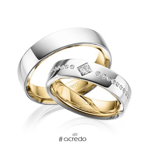 Paar bicolor Trauringe/Eheringe in außen Platin 950 , innen Gelbgold 750 mit zus. 0,326 ct. Brillant & Prinzess-Diamant tw, si von acredo