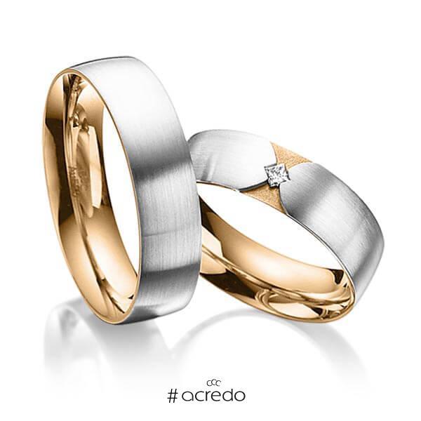 Paar bicolor Trauringe/Eheringe in außen Platin 950 , innen Roségold 750 mit zus. 0,04 ct. Prinzess-Diamant tw, si von acredo