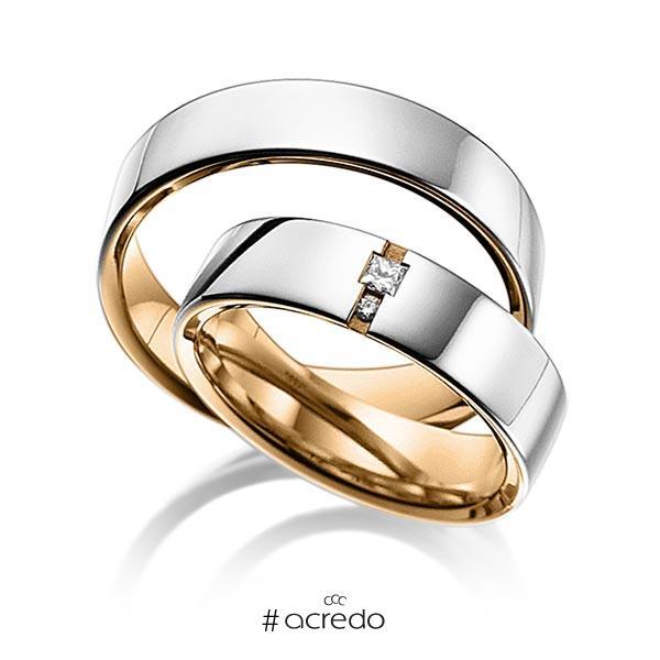 Paar bicolor Trauringe/Eheringe in außen Platin 950 , innen Roségold 750 mit zus. 0,06 ct. Prinzess-Diamant & Brillant tw, si von acredo