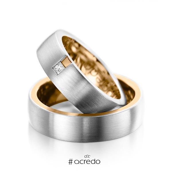 Paar bicolor Trauringe/Eheringe in außen Platin 950 , innen Roségold 750 mit zus. 0,06 ct. Prinzess-Diamant tw, si von acredo