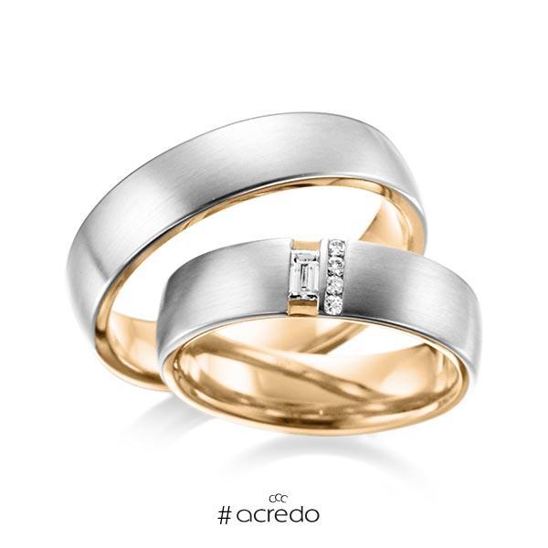 Paar bicolor Trauringe/Eheringe in außen Platin 950 , innen Roségold 750 mit zus. 0,132 ct. Baguette-Diamant & Brillant tw, vs von acredo