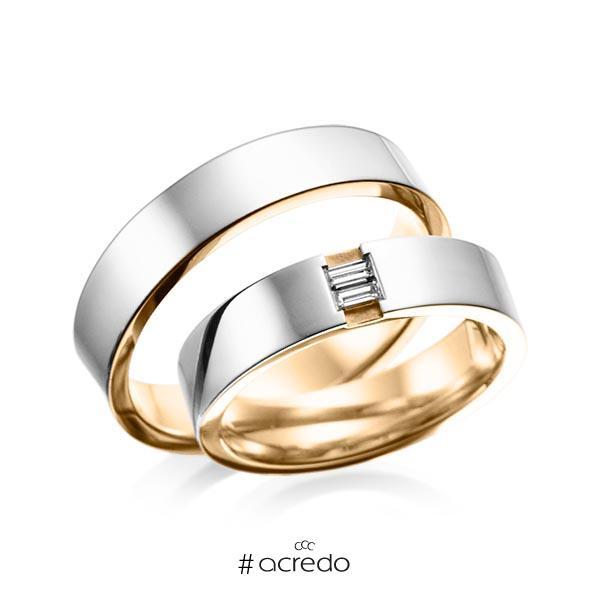 Paar bicolor Trauringe/Eheringe in außen Platin 950 , innen Roségold 750 mit zus. 0,1 ct. Baguette-Diamant tw, vs von acredo