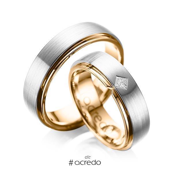 Paar bicolor Trauringe/Eheringe in außen Platin 950 , innen Roségold 750 mit zus. 0,1 ct. Prinzess-Diamant tw, si von acredo
