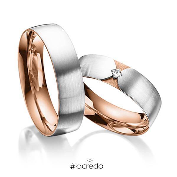 Paar bicolor Trauringe/Eheringe in außen Platin 950 , innen Rotgold 750 mit zus. 0,04 ct. Prinzess-Diamant tw, si von acredo