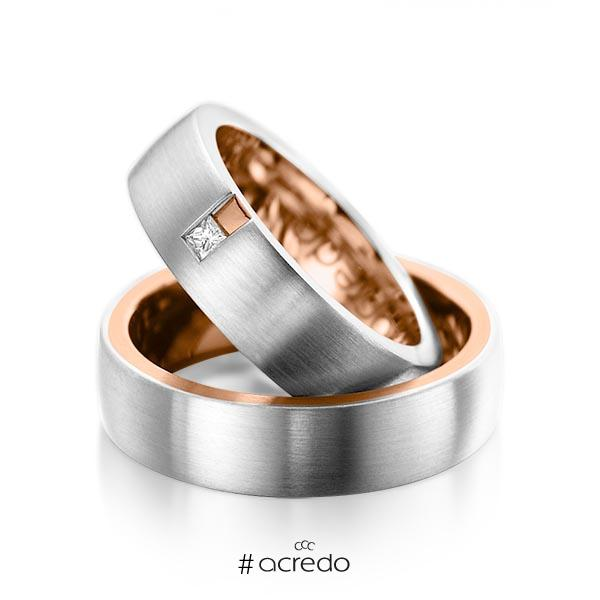 Paar bicolor Trauringe/Eheringe in außen Platin 950 , innen Rotgold 750 mit zus. 0,06 ct. Prinzess-Diamant tw, si von acredo