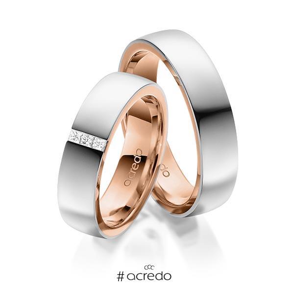 Paar bicolor Trauringe/Eheringe in außen Platin 950 , innen Rotgold 750 mit zus. 0,09 ct. Prinzess-Diamant tw, si von acredo