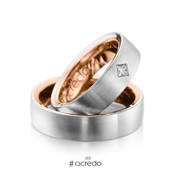 Paar bicolor Trauringe/Eheringe in außen Platin 950 , innen Rotgold 750 mit zus. 0,12 ct. Prinzess-Diamant tw, si von acredo
