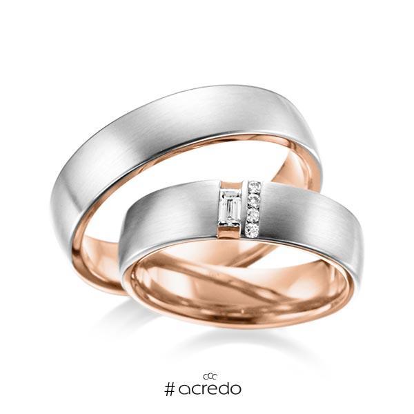 Paar bicolor Trauringe/Eheringe in außen Platin 950 , innen Rotgold 750 mit zus. 0,132 ct. Baguette-Diamant & Brillant tw, vs von acredo