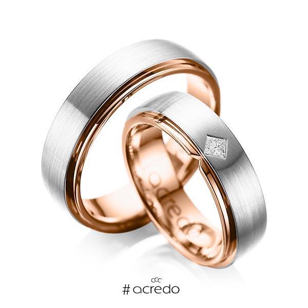 Paar bicolor Trauringe/Eheringe in außen Platin 950 , innen Rotgold 750 mit zus. 0,1 ct. Prinzess-Diamant tw, si von acredo