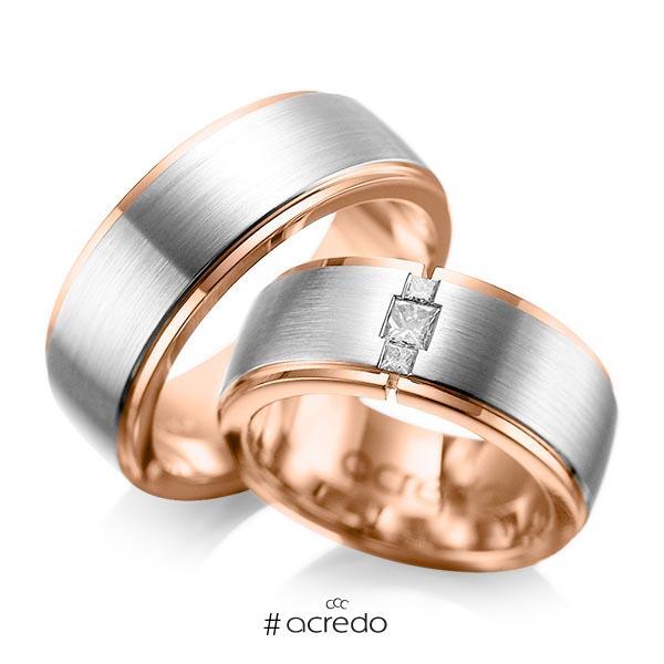 Paar bicolor Trauringe/Eheringe in außen Platin 950 , innen Rotgold 750 mit zus. 0,21 ct. Prinzess-Diamant tw, si von acredo