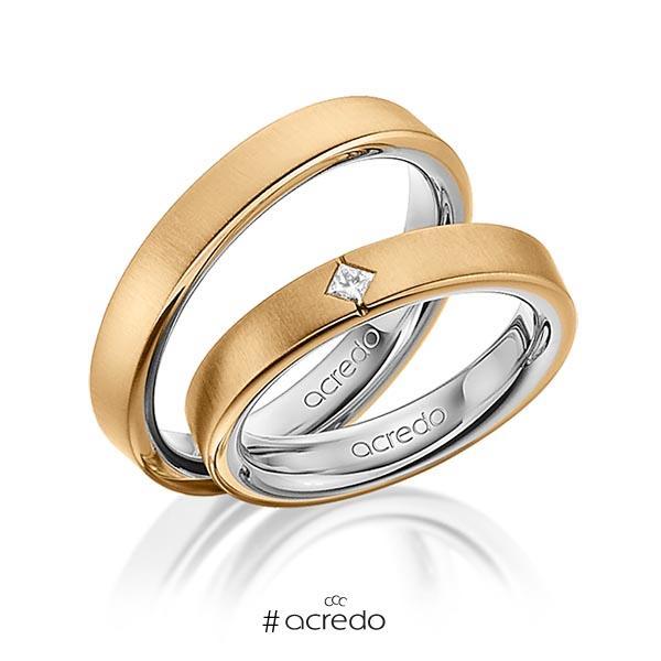 Paar bicolor Trauringe/Eheringe in außen Roségold 585 , innen Graugold 585 mit zus. 0,05 ct. Prinzess-Diamant tw, si von acredo