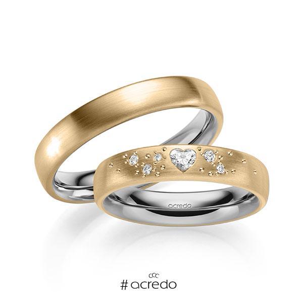 Paar bicolor Trauringe/Eheringe in außen Roségold 585 , innen Graugold 585 mit zus. 0,146 ct. Herz-Diamant & Brillant tw, vs tw, si von acredo