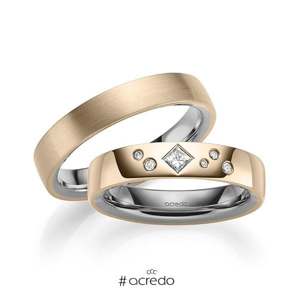 Paar bicolor Trauringe/Eheringe in außen Signature Gold 585 , innen Graugold 585 mit zus. 0,146 ct. Brillant & Prinzess-Diamant tw, si von acredo